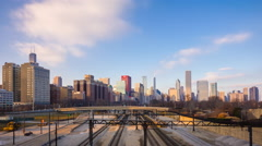 4k time-lapse of sunset over downtown Chicago Stock Footage