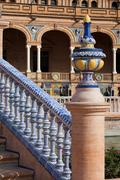 Azulejo Glazed Balustrade and Finial Stock Photos