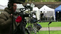 Breaking News - Television Reporters At Live News Event Stock Footage