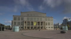Opera Leipzig Germany Hyperlapse Timelapse With Clouds Stock Footage