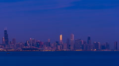 Sunrise over Chicago, with Lake Michigan and landmark skyscrapers Stock Footage