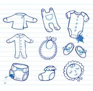 Infant clothes Icon set Stock Illustration