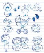 Infant  doodle Icon set Stock Illustration