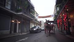 Horse Carriage New Orleans French Quarter slow motion Stock Footage
