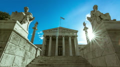 Academy of Athens,greek columns,Plato and Socrates statue 30p Stock Footage