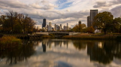 4K time-lapse of Chicago's skyline as seen from Lincoln Park Stock Footage
