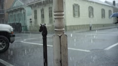 New Orleans Rain cross street_01 Stock Footage