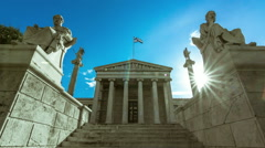 Academy of Athens,greek columns,Plato and Socrates statue 25p - stock footage