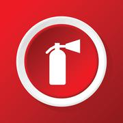 Fire extinguisher icon on red Stock Illustration