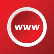 WWW icon on red - stock illustration