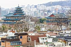 Gyeongbokgung, or the Palace of Felicitous Blessing, was the main palace of t Stock Photos