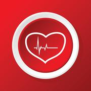 Beating heart icon on red - stock illustration