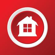 House icon on red - stock illustration