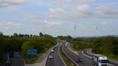 Time lapse electricity generating windmills by m18 motorway sheffield uk Stock Footage