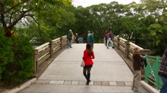 Moving over small bridge in park, many people on the way Stock Footage