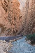 The Gorges du Dades valley with river, Morocco - stock photo
