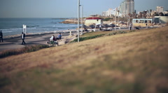 Tel-Aviv Jaffa beach boardwalk coastline, long shot, shallow focus Stock Footage