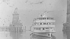 Lindau 1950s: sightseeing boat arriving at the port Stock Footage
