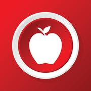 Apple icon on red Stock Illustration