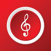Treble clef icon on red - stock illustration