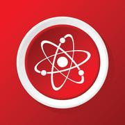 Atom icon on red Stock Illustration