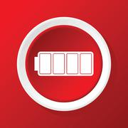 Full battery icon on red Stock Illustration