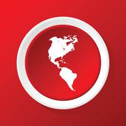 Stock Illustration of Continents icon on red