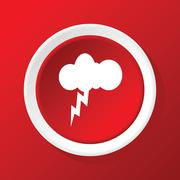 Thunderbolt icon on red Stock Illustration