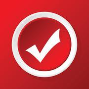 Tick mark icon on red Stock Illustration