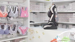 Interior of  baby and maternity store Stock Footage