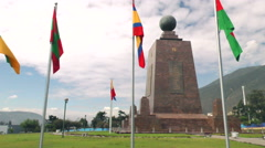 Mitad del Mundo (Center Of The world) monument pan left to right, Quito Ecuador Stock Footage