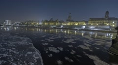 Night Timelapse of Floating Ice Floes In Dresden Germany Stock Footage
