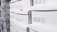 Stock Video Footage of Dolly: Row of shoes boxes stacked in  shoe store