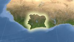 Cote Divoire on maps. Neighbourhood. Set of animations. Stock Footage