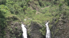 Twin huge waterfall in Ecuadorian cloud forest, slow motion Stock Footage