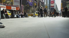 Man walking low angle Nike sneakers Times Square slow motion 4K NYC Manhattan Stock Footage