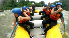 River rafting boat with happy group of seven girls, included audio from onboard Stock Footage