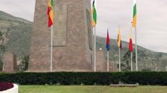 Mitad del Mundo (Center of the world) monument near Quito Stock Footage