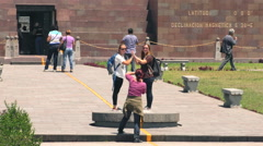 QUITO, ECUADOR - 2 APRIL 2015: Visitors at Center Of The World monument in QUITO Stock Footage