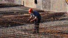 Construction. Building. Man. Armature. Stock Footage