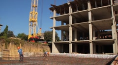 Construction. Building. Man. Armature. Crane. Stock Footage