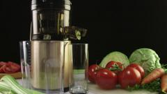 Dolly: Cold press juicer for making fresh vegetable juice Stock Footage