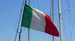 Italian flag at yacht mast Stock Footage