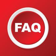 FAQ icon on red - stock illustration