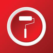 Paint roller icon on red Stock Illustration