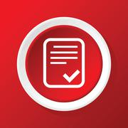 Accepted document icon on red Stock Illustration
