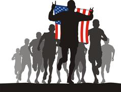 Winner of the athletics competition with the American flag at the finish Stock Illustration