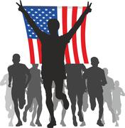 Winner with the American flag at the finish - stock illustration