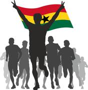 Stock Illustration of Winner with the Ghana flag at the finish