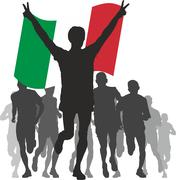 Winner with the Italy flag at the finishy Stock Illustration